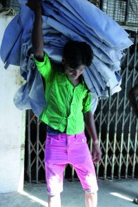 A worker at a tannery in Tamil Nadu, India